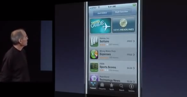 Steve Jobs introducing the App Store in 2008