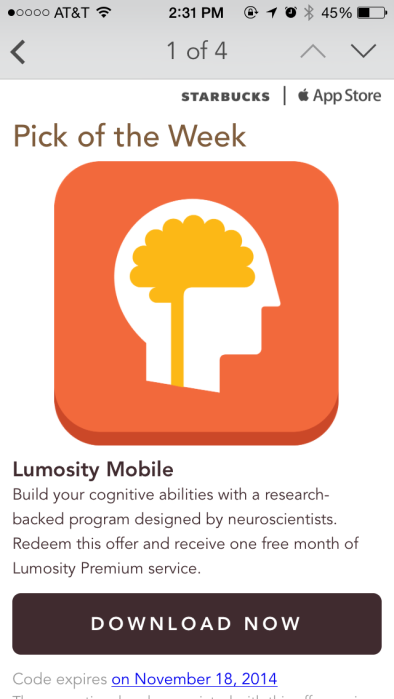 Lumosity Pick of the Week 2