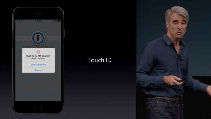 Apple SVP Craig Federighi featuring 1Password at October Apple event