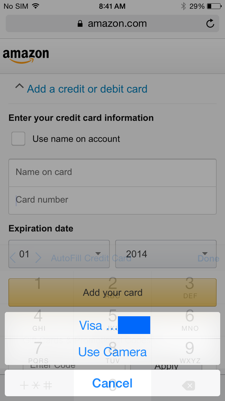 iOS 8 How-to: Use Camera to enter in credit card info