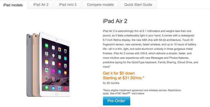 AT&T iPad Air 2 pre-order