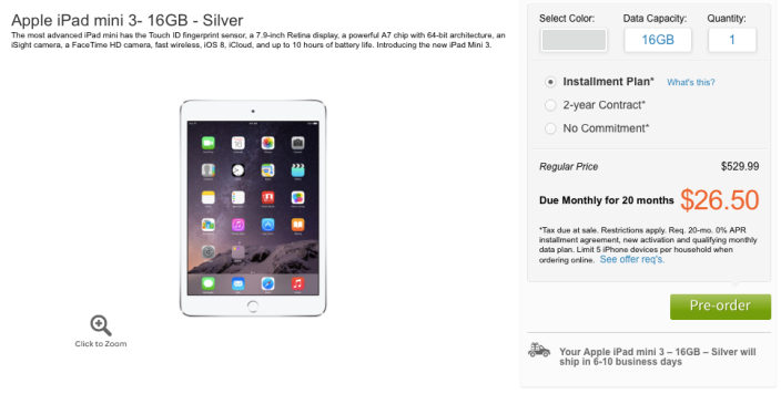 iPad mini 3 AT&T