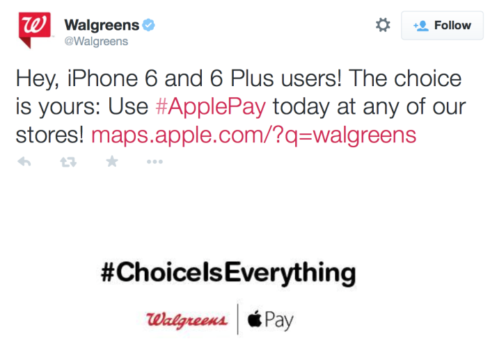Walgreens Apple Pay tweet