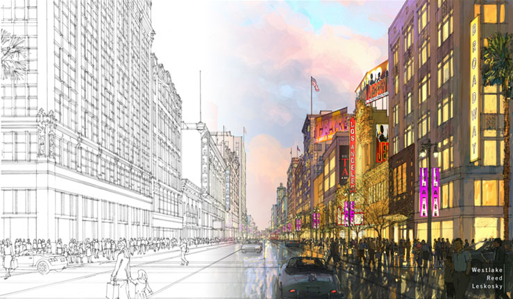 "Artist render of the ""Bringing Back Broadway"" commission's goal"