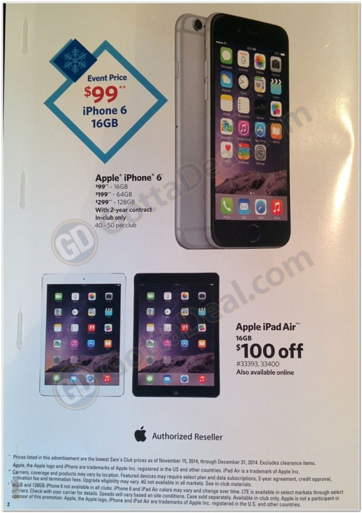 Sam's Club Black Friday iPhone 6