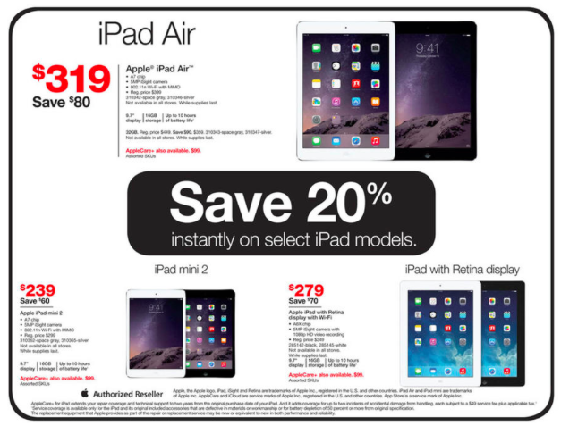 Staples Black Friday: Use Apple Pay & save 20% on iPad Air