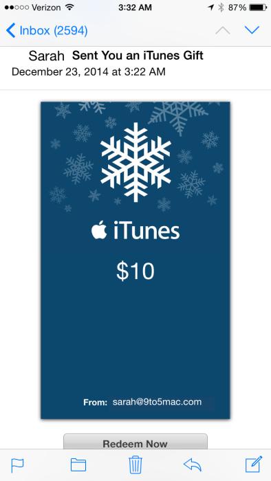iTunes e-gift card