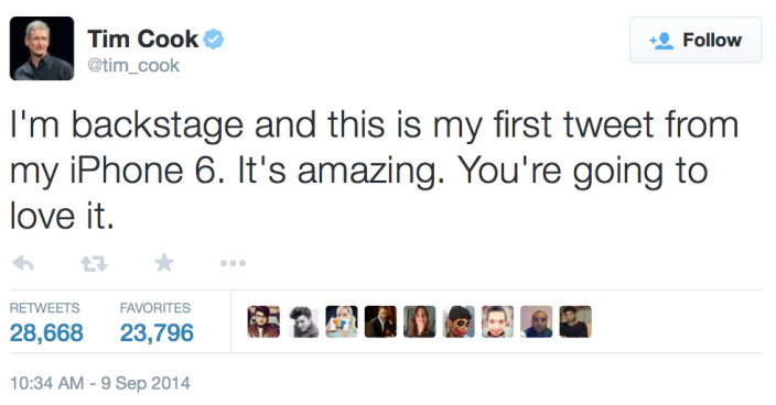 Tim Cook iPhone 6 tweet
