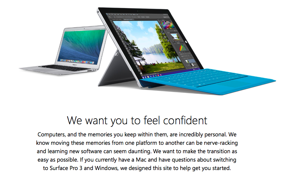 Microsoft Surface 3 site