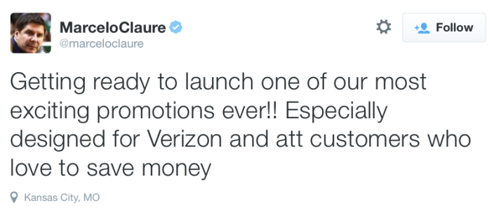 Sprint CEO Marcelo Claure teasing the new promotion