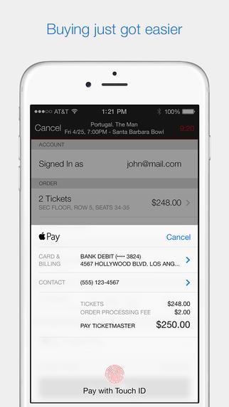 Ticketmaster Apple Pay 2