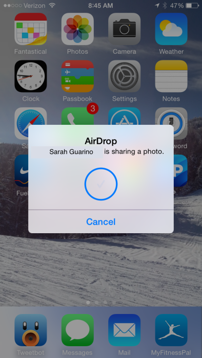 AirDrop notification on iOS device