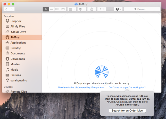 AirDrop Searching for an Older Mac