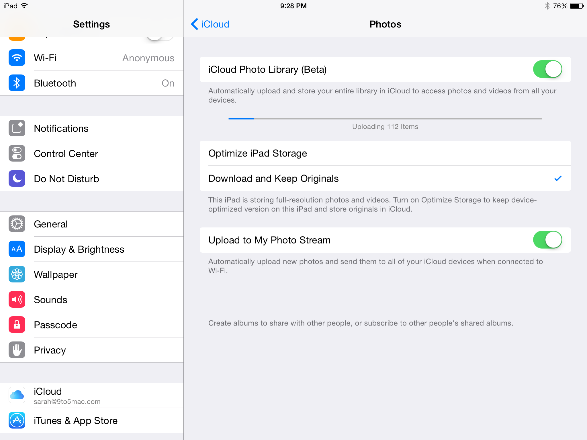 Icloud to upload how photos to