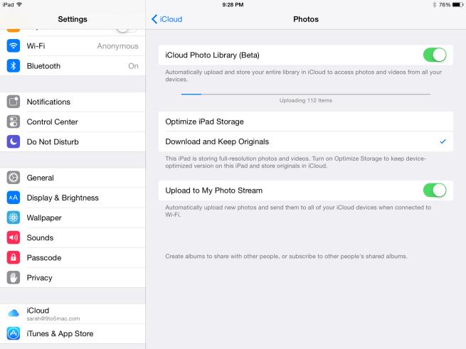 iCloud Photo Library Beta Settings