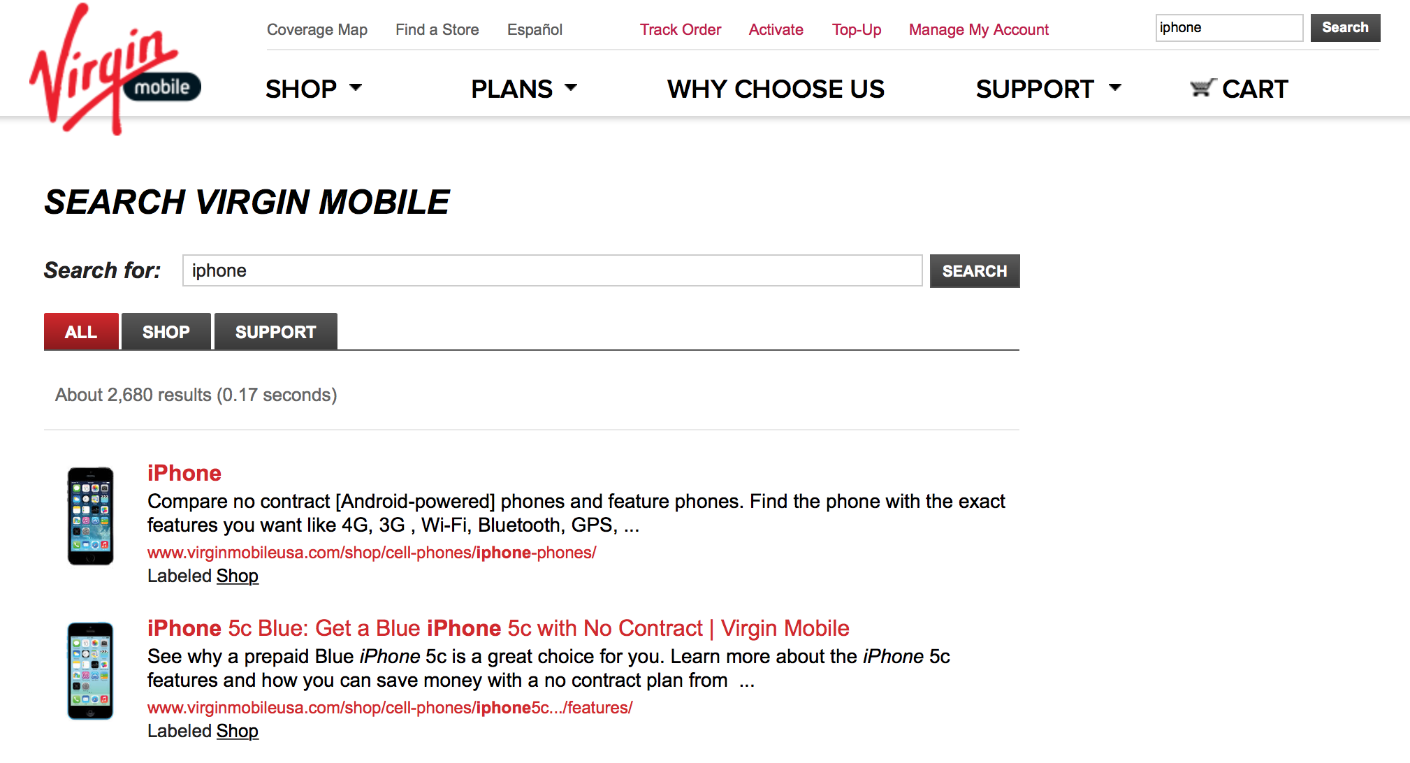 Virgin Mobile USA iPhone Search