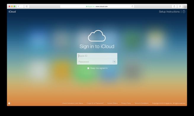iCloud.com login screen