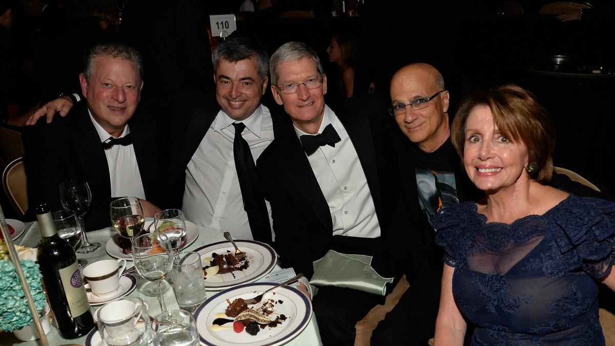 Al Gore Eddy Cue Tim Cook Jimmy Iovine Nancy Pelosi