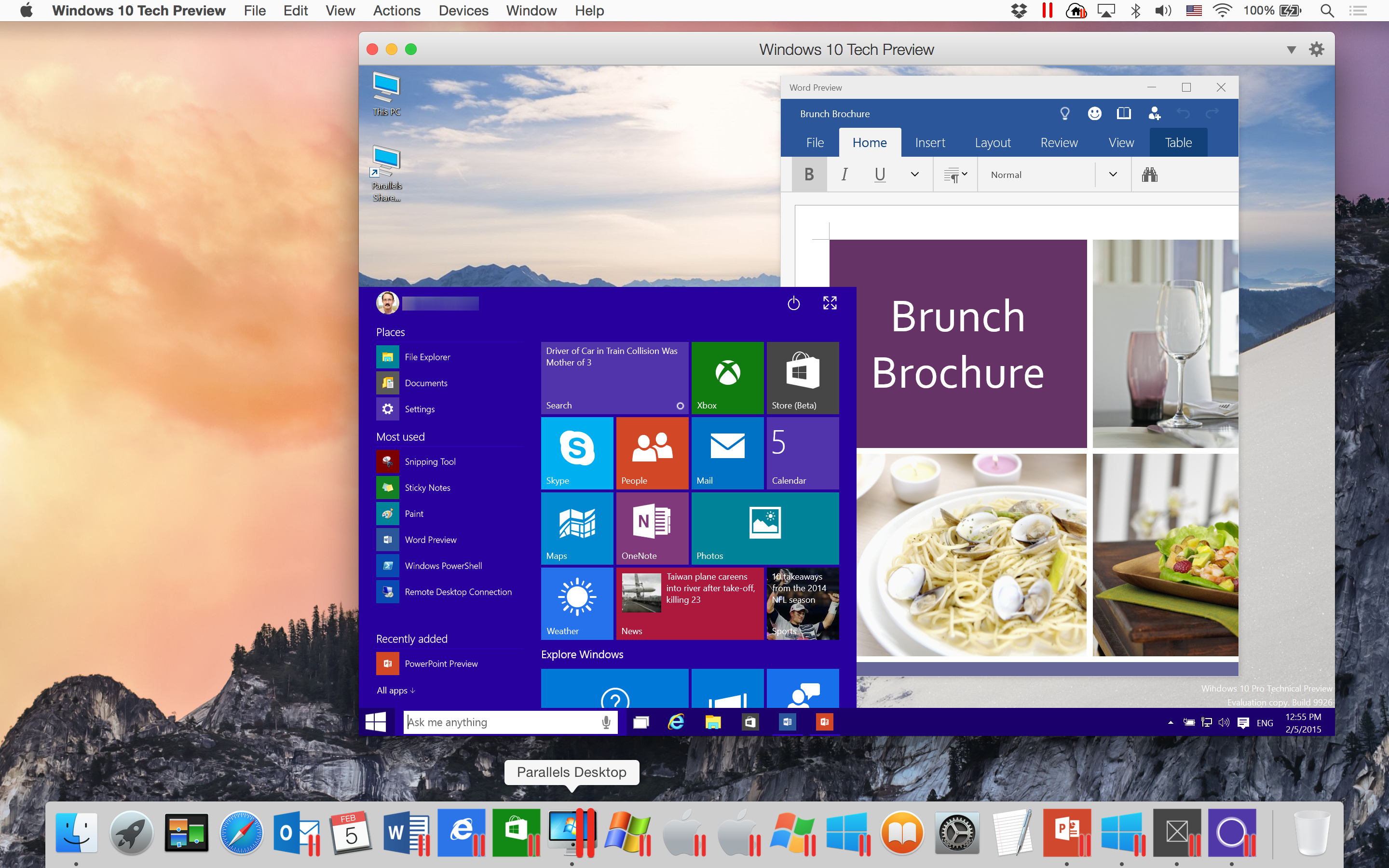 Windows 10 Tech Preview in Parallels Desktop 10 on Mac OS X Yosemite