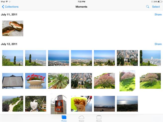 Photos on iOS device