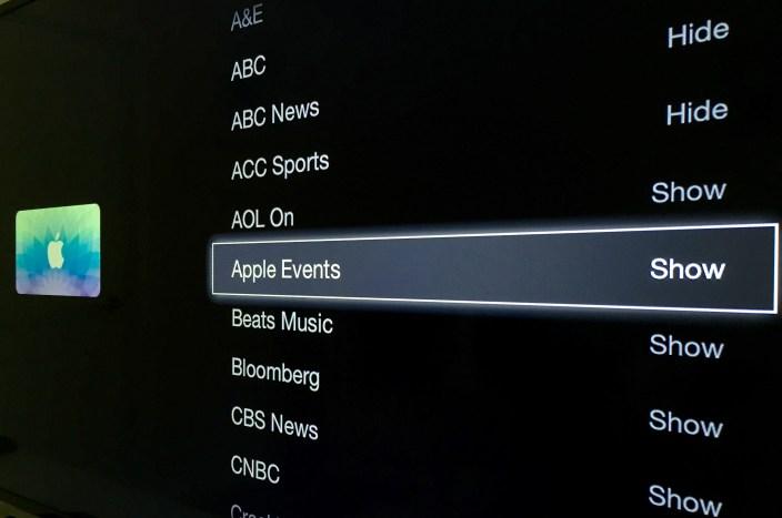 Apple TV show hide icon