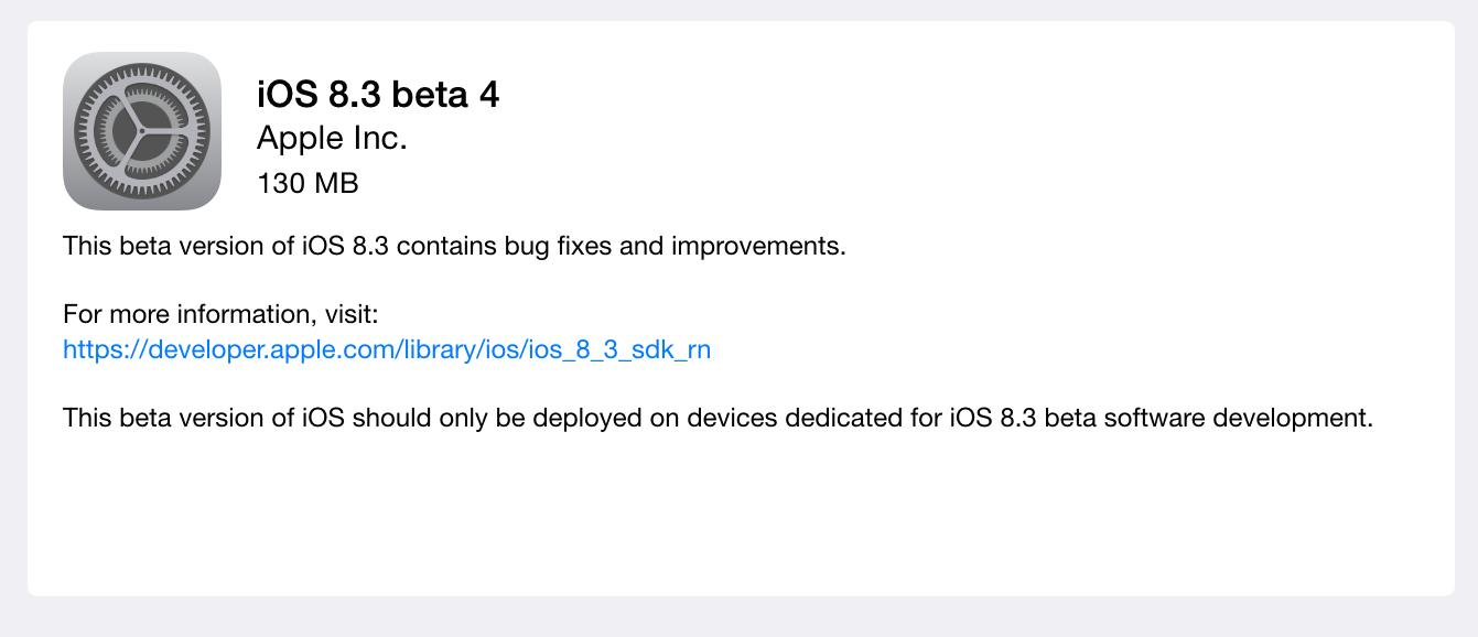 iOS 8.3 beta 4 (developers)