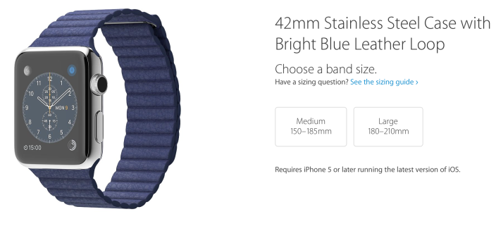 Apple Watch band sizes