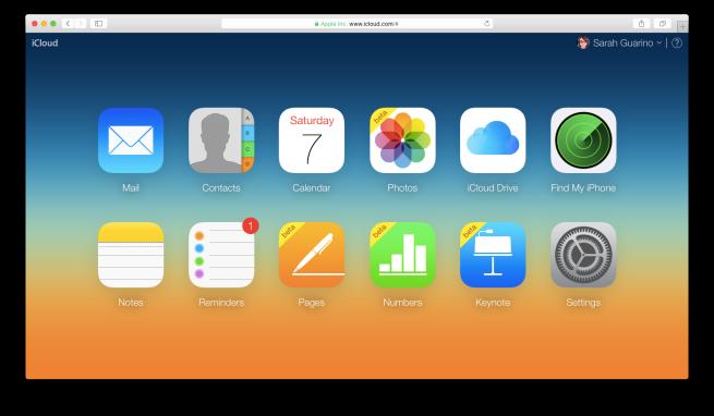 iCloud Main Page