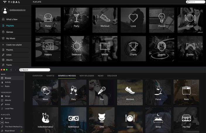 Tidal-vs-Spotify-UI