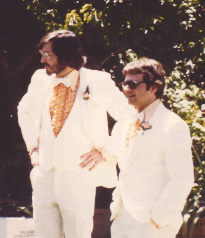Andy Herzfeld & Steve Jobs at Steve Wozniak's wedding