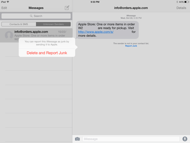 Reporting iMessage as Junk