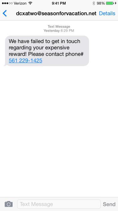 Junk SMS Message