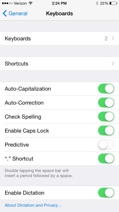 iOS 8 Keyboard Settings