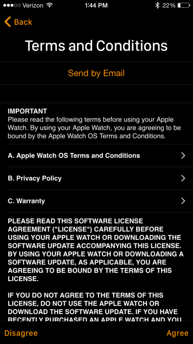 Apple Watch Terms and Conditions