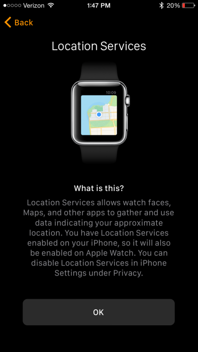 Apple Watch App Location Services