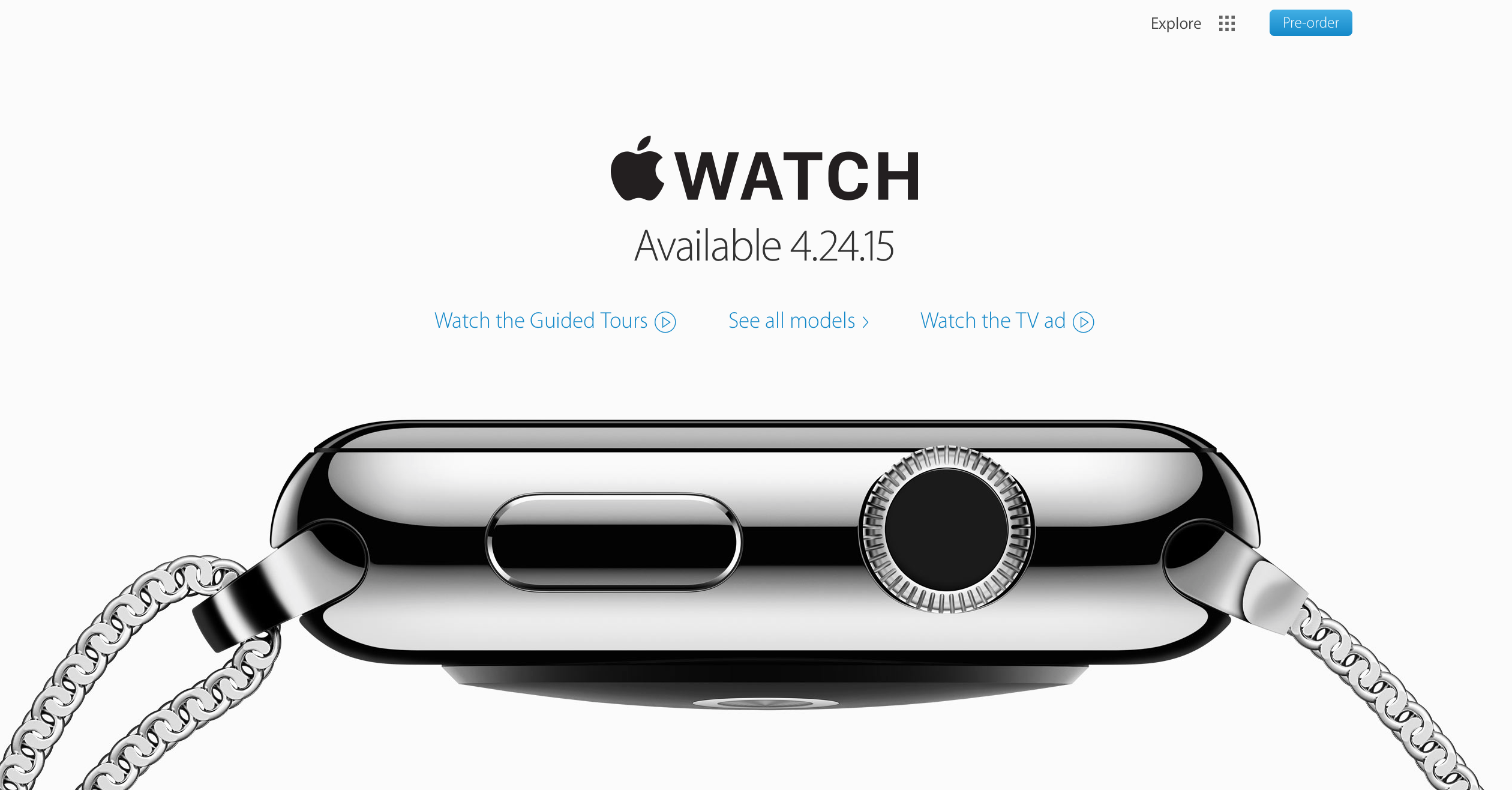 The Apple Watch site as it appeared until the evening of April 15th