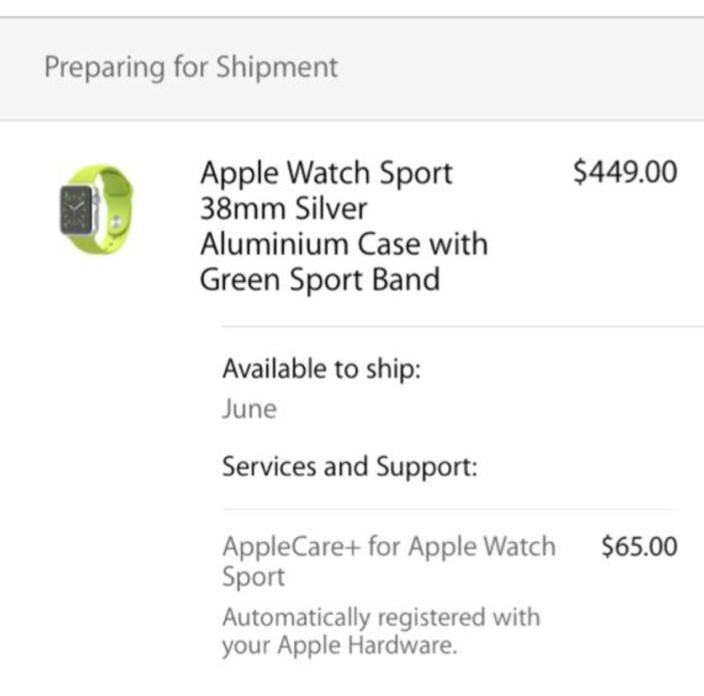 Apple Watch order status