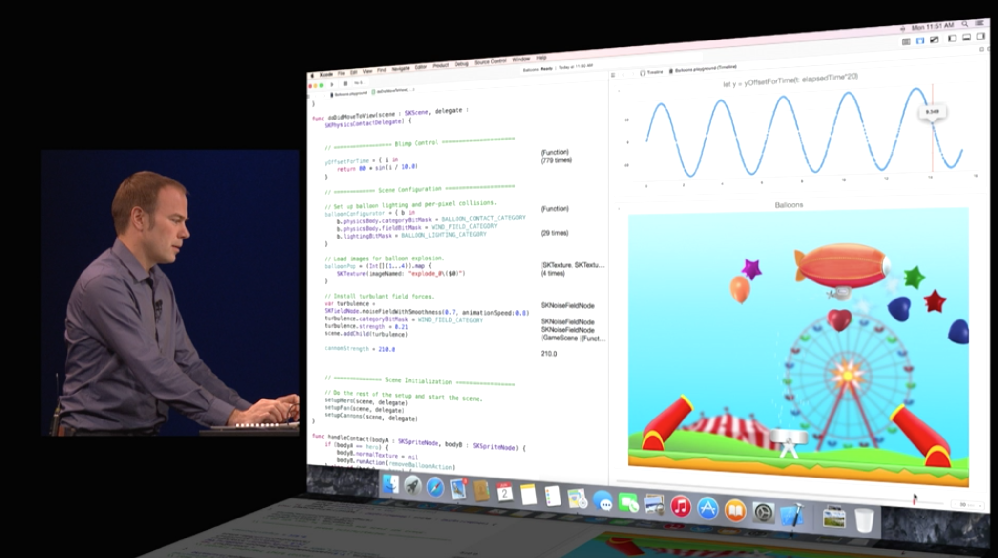 Chris Lattner, pioneer of Swift, demoing at WWDC 2014