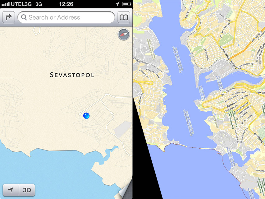 Apple Maps (Left) in 2012 not showing lake (Right)