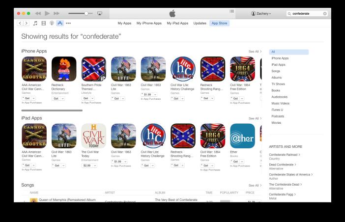App Store Confederate Flag