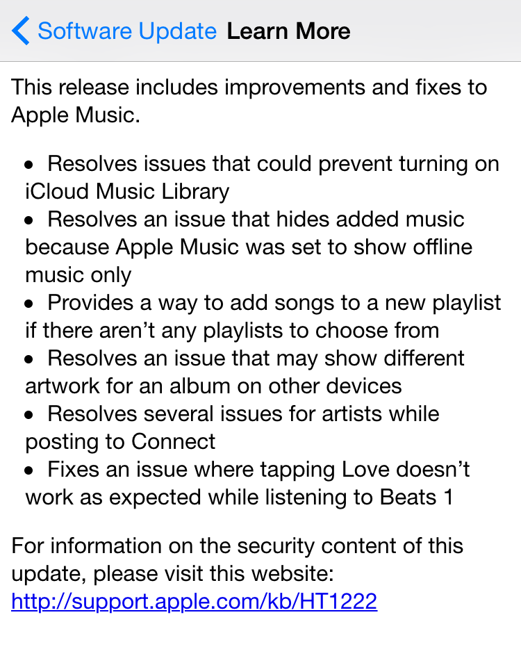 iOS 8.4.1 release notes