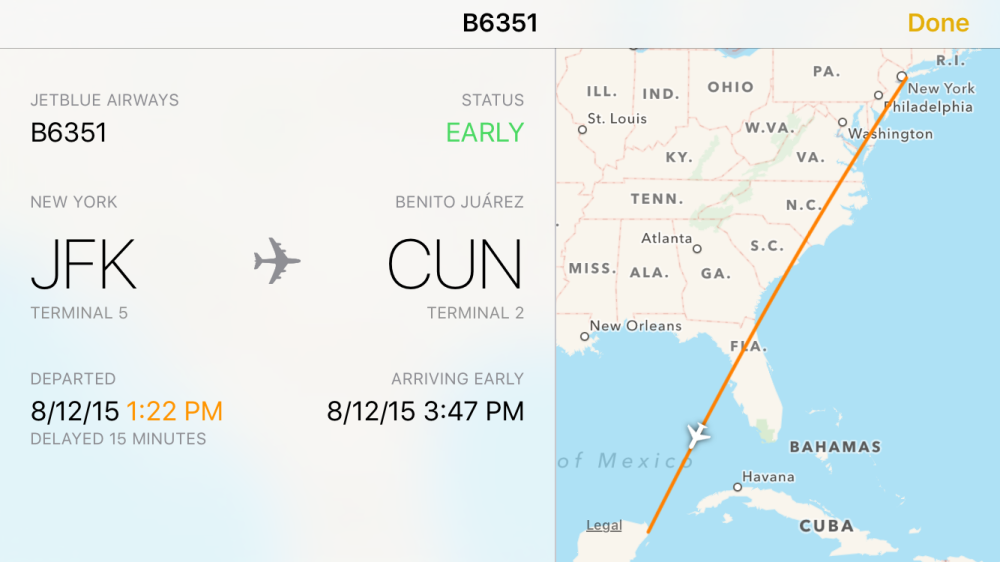 iOS 9 Flight status 3