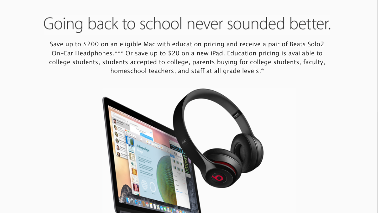 Apple expands 2015 Back to School deal of free Beats Solo2 headphones to online purchases, additional countries