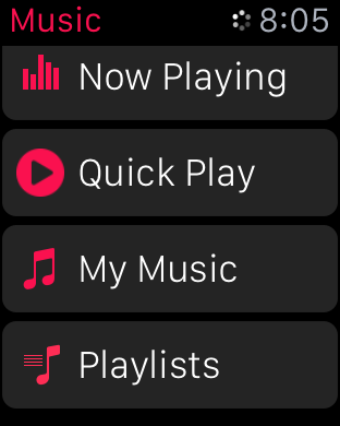 watchOS 2 Music Quick Play