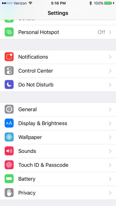 iOS 9 Settings Battery