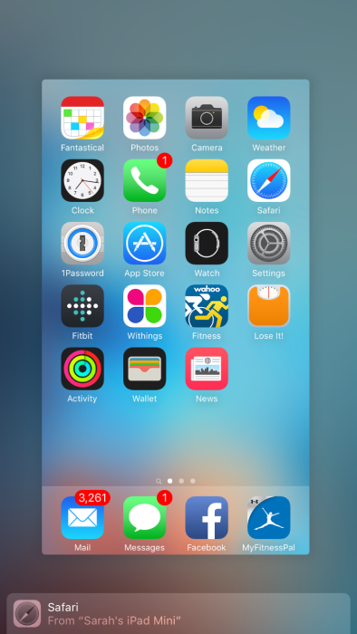 iOS 9 Handoff from Multitasking