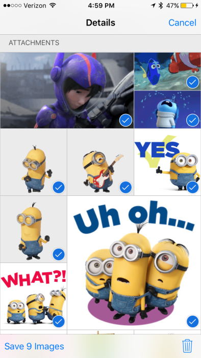 iOS 9 Messages Select multiple images