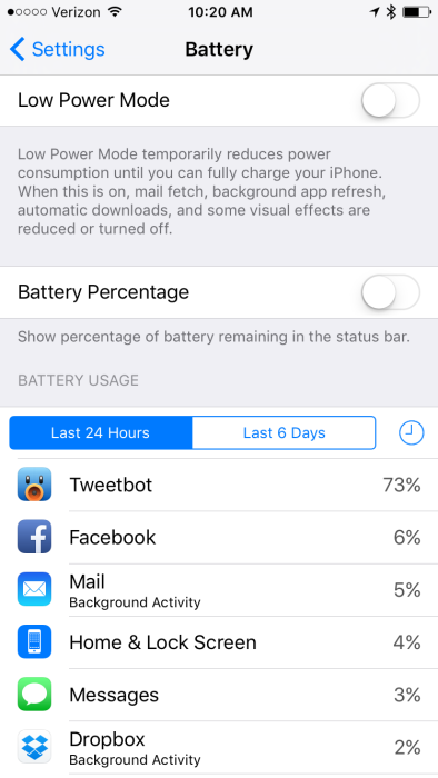 iOS 9 Low Power Mode Settings