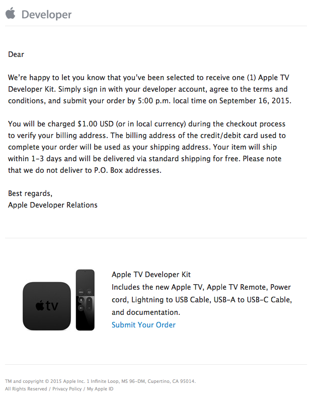 apple tv developer kit