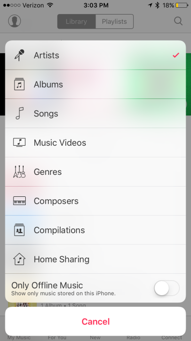 iOS 9 Home Sharing in Music